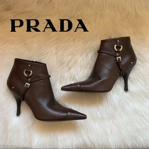 Auth. PRADA Logo Harness Studded Pointed Booties